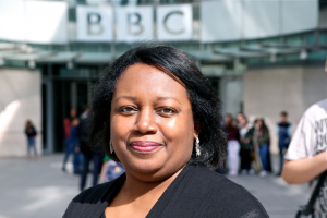 Malorie Blackman at the BBC studio